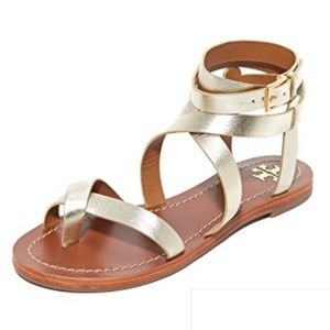 NEW Tory Burch Patos Wrap Gladiator Sandals GOLD